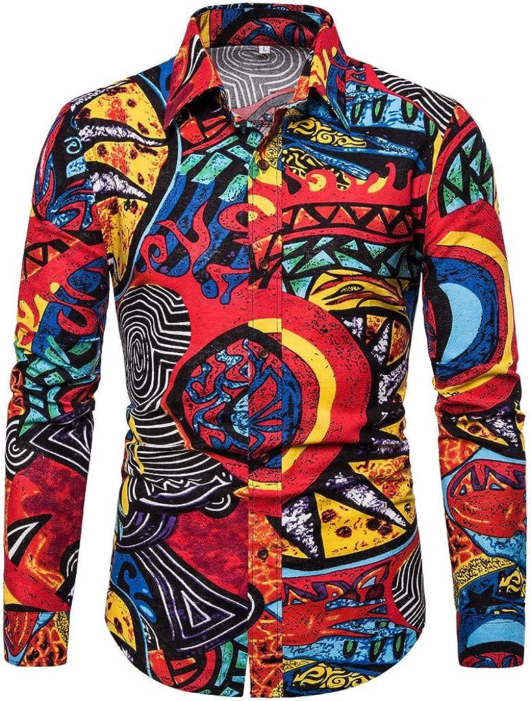 LEKODE Men Shirt Fashion Business Leisure Tee Printing Long Sleeve Top Blouse