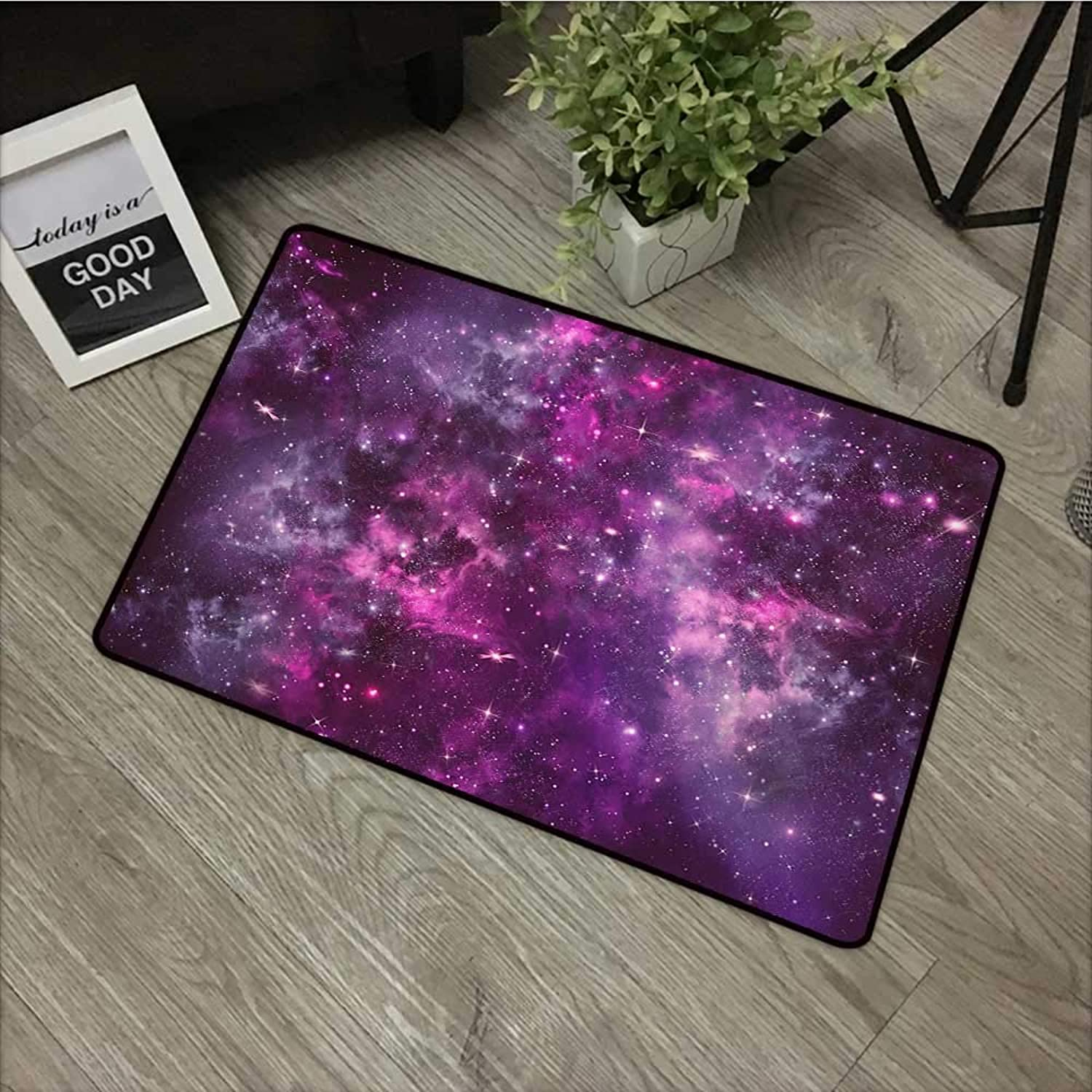 Square Door mat W35 x L59 INCH Purple,Nebula Gas Cloud Deep Dark in Outer Space with Star Clusters Galaxy Infinity Solar Sky,Purple with Non-Slip Backing Door Mat Carpet
