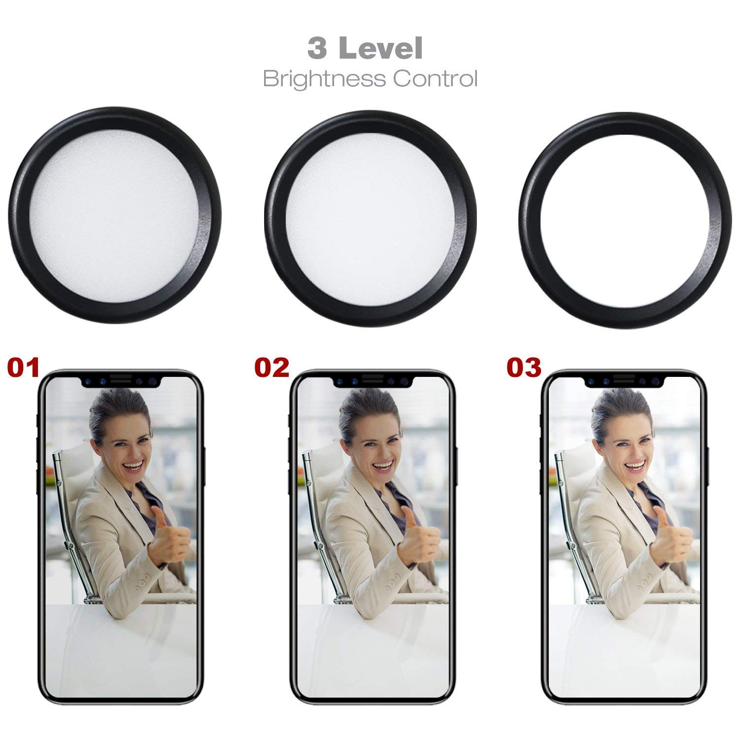 3-Level Adjustment Fill Light for Use in YouTube,Live Stream,Video Chat,Makeup XIAOXIN LED Ring Light Cell Phone Holder with Selfie Ring Light