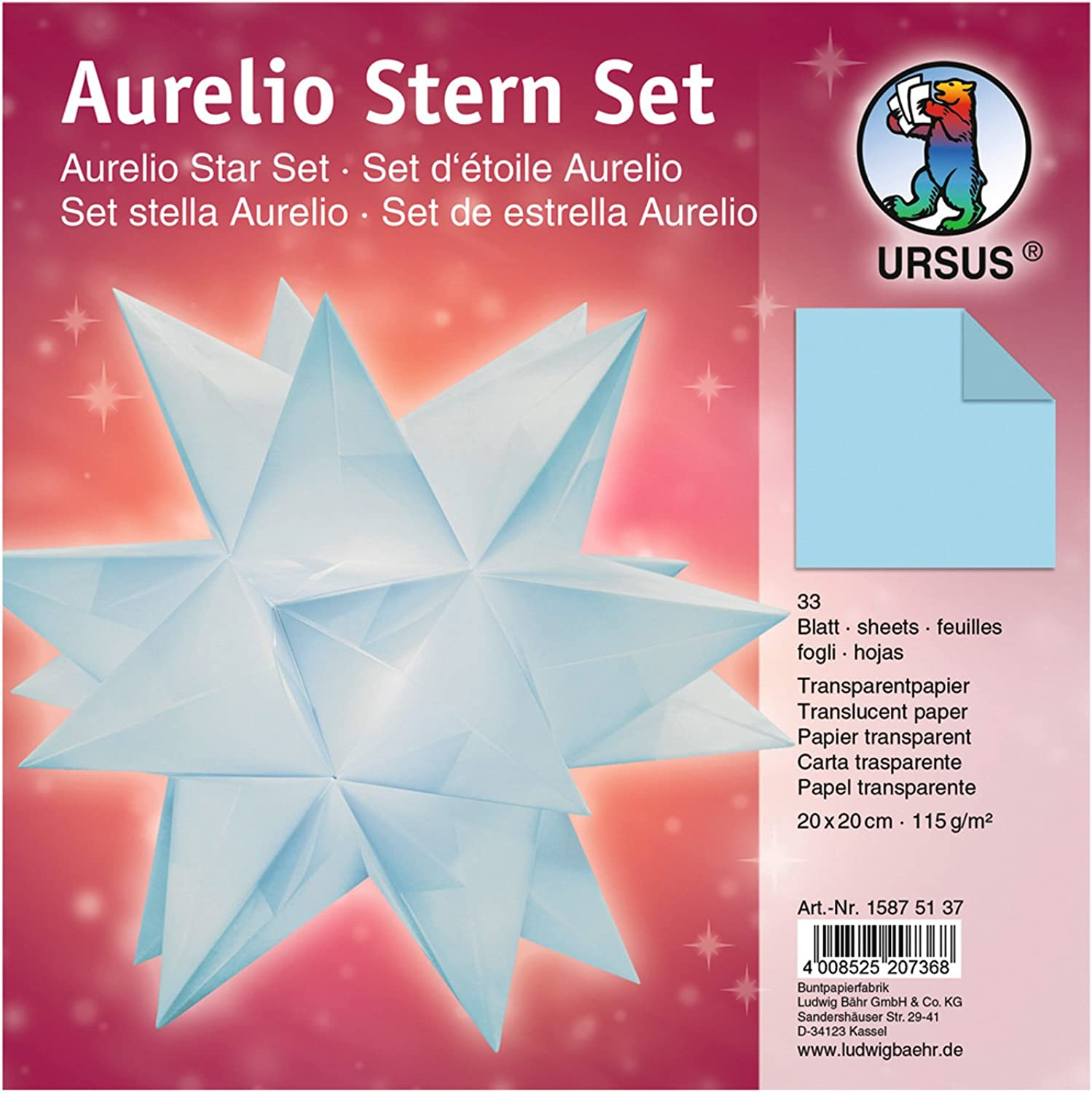 (20 x 20 cm, Light bluee)  Ursus Aurelio Star 15875500  Folding