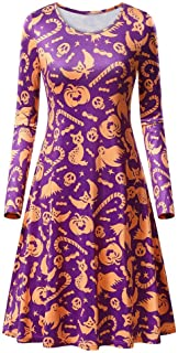 YOMXL Womens Halloween Long Sleeve Round Neck Pumpkins Printed Flared Evening Party Dress