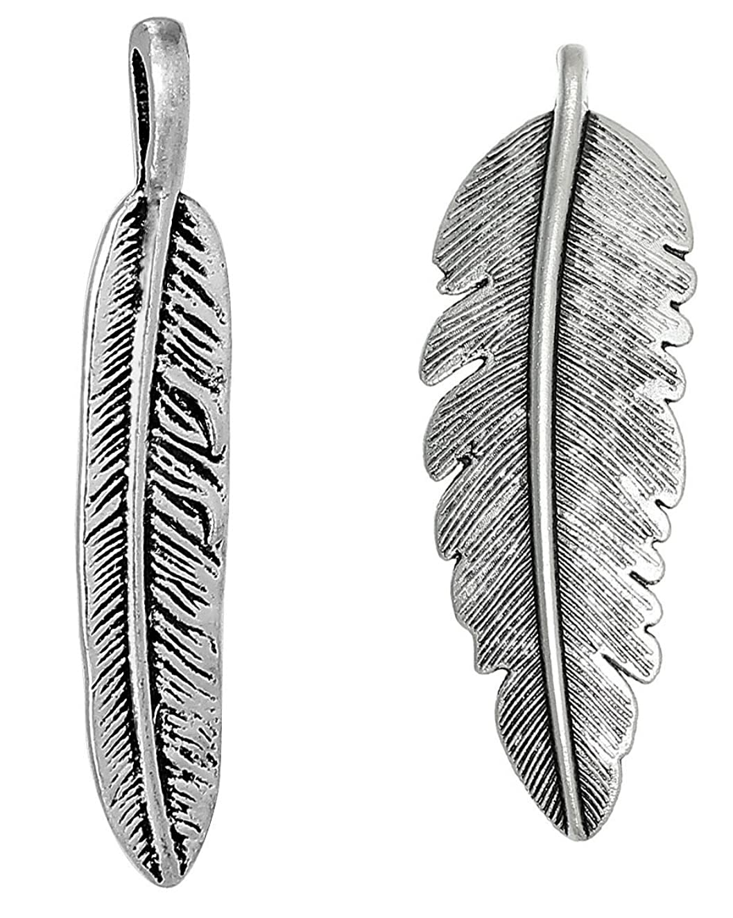 40 PC Silver Tone Large Feather Charm Pendants, Jewelry Making DIY (20 of Each)