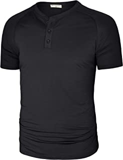 Derminpro Men's Casual Quick Dry Henley T Shirts Short Sleeve Raglan Tee with 3 Buttons