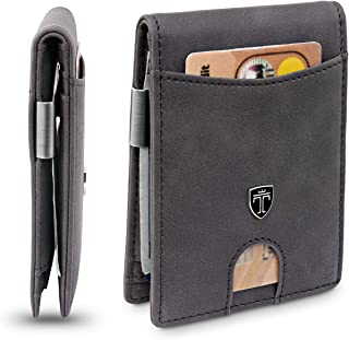 TRAVANDO Slim Wallet with Money Clip SEATTLE RFID Blocking Card Mini Bifold Men, Grey