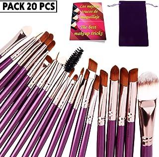 Brochas de maquillaje profesional set 20 uds de alta gama pinceles maquillaje ojos con estuche para llevar y revista trucos de maquillaje cerdas sinteticas suaves