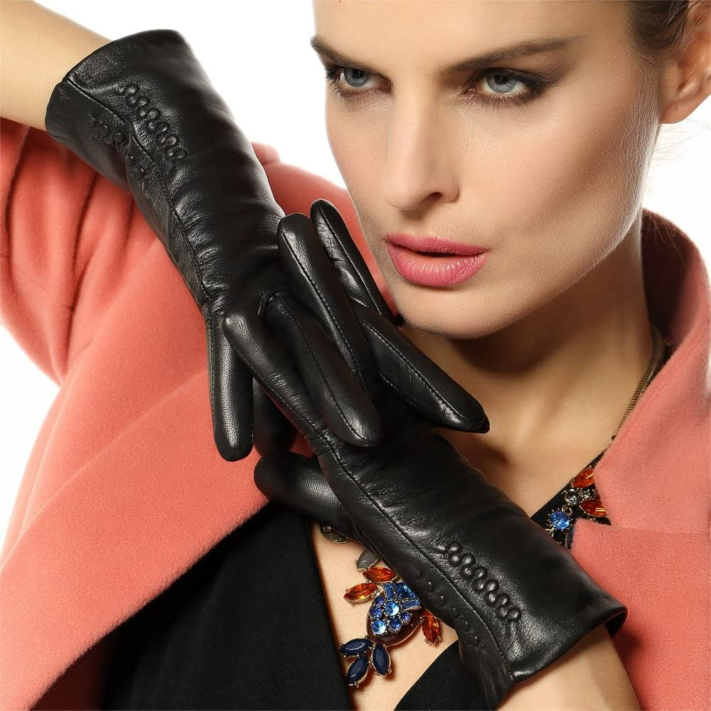 Women Winter Leather Gloves Touchsceen Texting Thick Warm Lining
