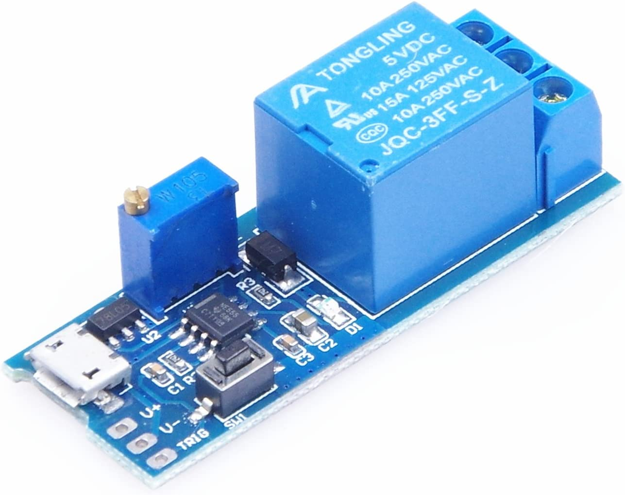 KNACRO 5V 6V 12V 24V 30C 5V-30V 1 Channel 10A Wilde Voltage 0-24s Adjustable Delay Internal/External Trigger Relay Board with Timer Delay Conduction Delay Circuit Switch