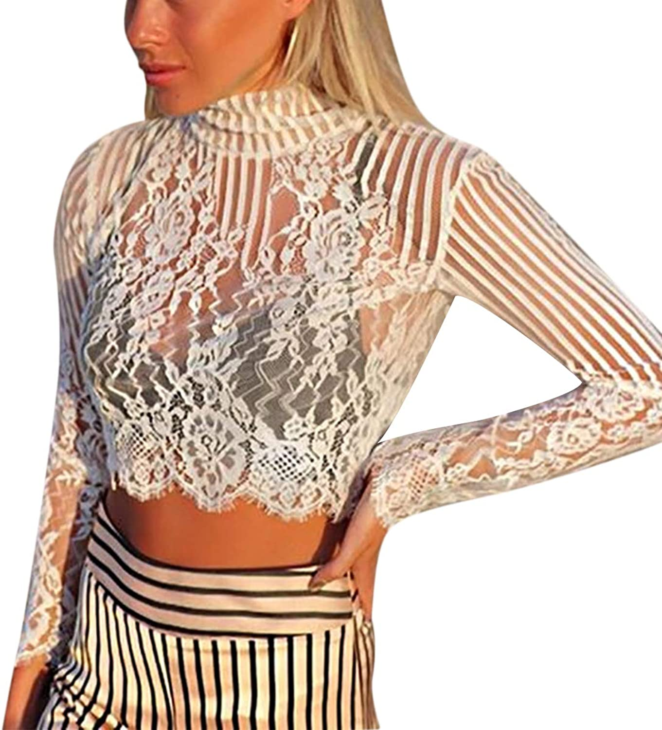Sasonfixia Floral Lace Patchwork Crop Top Navel Long Sleeve Oneck See Sheer Women T Shirt