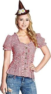 """Rubie""""s 13702 Rubie`s Damen Trachtenbluse rot-weiß kariert Dirndl Bluse 42"""