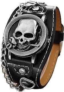 Fashion Men Punk Rock Skull Skeleton Copper Leather Watch Women Bracelet Quartz Wrist Watch 1831