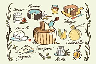 Varieties of Italian Traditional Cheese Cool Wall Decor Art Print Poster 36x24