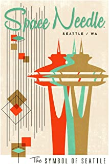The Space Needle - Simple Block Color - Mid Century Modern Graphic Design 84306 (12x18 SIGNED Print Master Art Print - Wall Decor Poster)