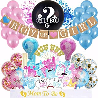 Gender Reveal Party Supplies –Baby Shower Party Decorations – Boy & Girl Party Reveal Décor with Cake Toppers, Balloons and Confetti – Pink & Blue Complete Party Throwing Kit