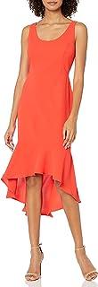 فستان كوكتيل بدون أكمام للنساء من laundry BY SHELLI SEGAL متوسط الطول مع حافة مرفرفة