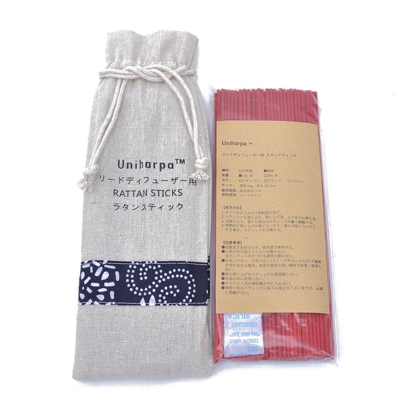 劇作家試してみるアナニバーリードディフューザー用 ラタンスティック/リードスティック リフィル 繊維素材 22.5cm 直径3mm 100本入 乾燥剤入り オリジナル旅行専用袋付 (赤)