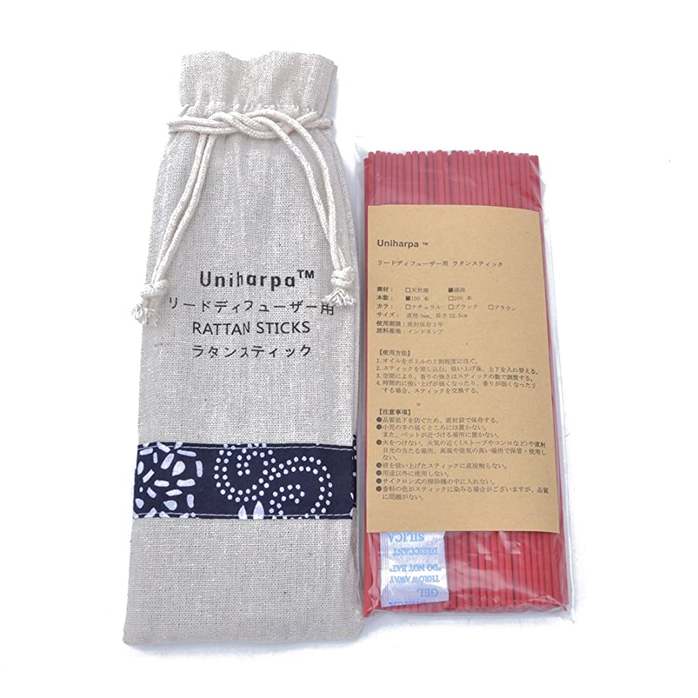 五十ジョージスティーブンソン未払いリードディフューザー用 ラタンスティック/リードスティック リフィル 繊維素材 22.5cm 直径3mm 100本入 乾燥剤入り オリジナル旅行専用袋付 (赤)