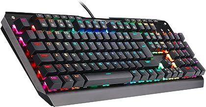 Redragon K555 Mecánico Teclado Gaming con Reposamuñecas Y Azules Conmutadores, 104 Teclas INDRAH RGB LED Retroiluminado Iluminado PC Gaming Teclado con Teclas Macro (QWERTY UK Layout)