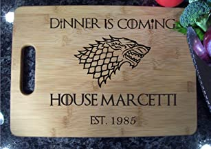 Personalized Game of Thrones Cutting Board 10x14 Eat, Dinner Is Coming