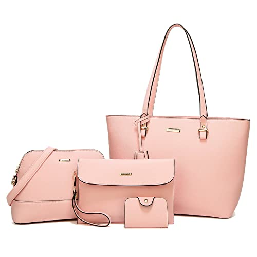 f081dcb4324248 ELIMPAUL Women Fashion Handbags Tote Bag Shoulder Bag Top Handle Satchel  Purse Set 4pcs