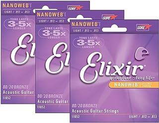 Elixir 11052 .012-.053 Nanoweb Light Acoustic Guitar Strings (3-pack)