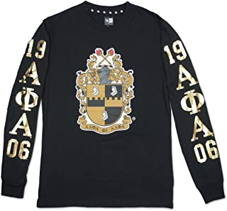 Big Boy Headgear Alpha Phi Alpha Fraternity Mens Long Sleeve Tee Black