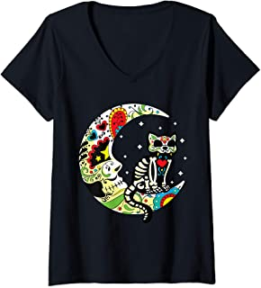Womens Dia de Los Muertos Halloween Sugar Skull Cat and Moon V-Neck T-Shirt