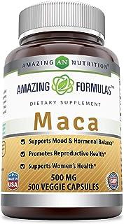 Amazing Formulas Maca - 500 Mg Veggie Capsules (Non-GMO,Gluten Free) Supports Mood & Hormonal Balance - Promotes Reproduct...