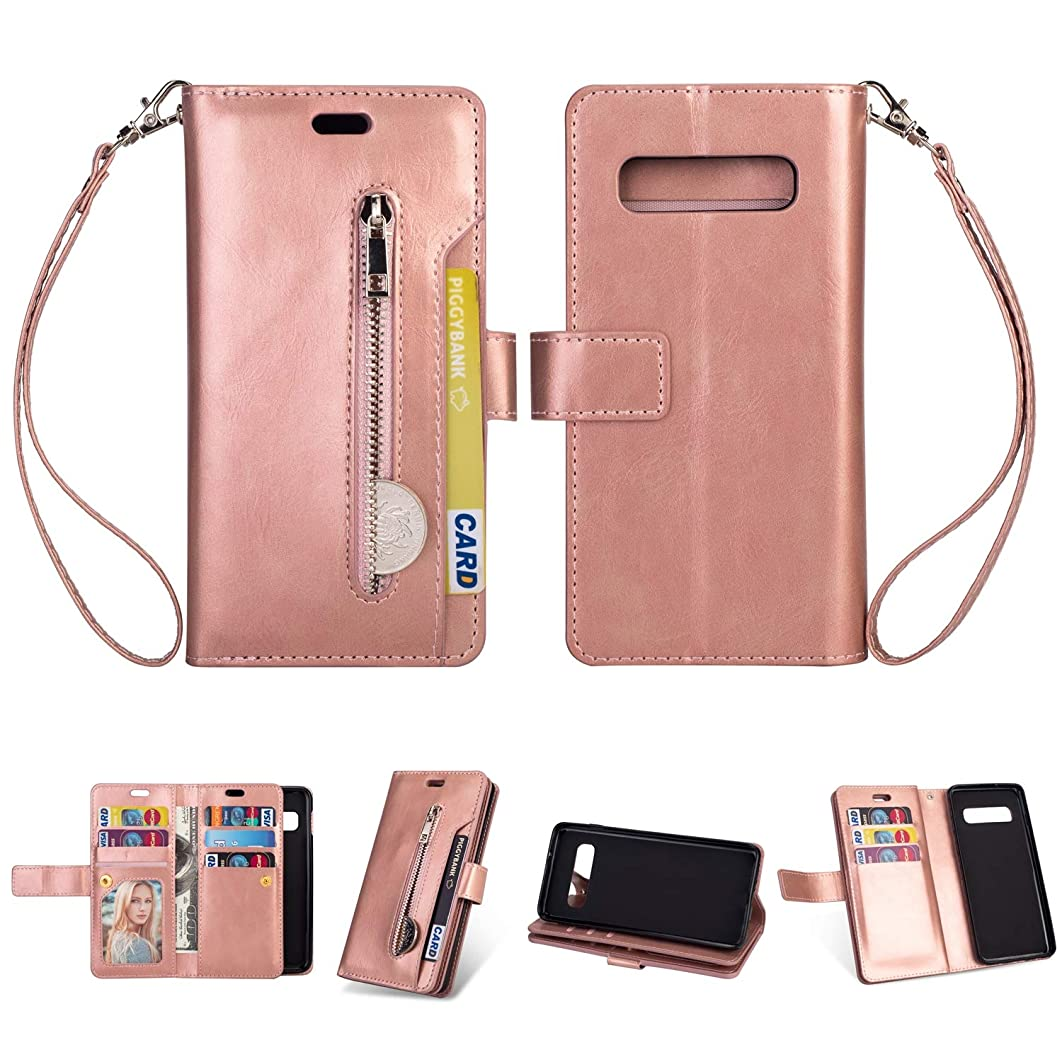 Galaxy S10 Plus Case,DAMONDY Zipper Stand Wallet Purse 9 Card Slot ID Holders Design Flip Cover Pocket Purse Leather Magnetic Protective for Samsung Galaxy S10 Plus-Rose Gold