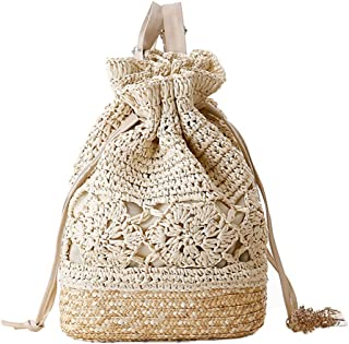 FAIRYSAN Crochet Sacs bandoulière Sac à Main Paille tissé Sac à Dos sans matière rotin Beige