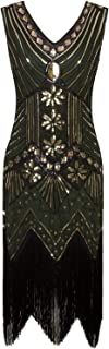 Vijiv Women 1920s Gastby Sequin Art Nouveau Embellished Fringed Flapper Dress