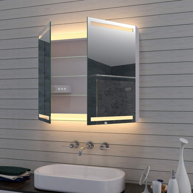 Lux aqua Aluminiumin LED Kalt / Warmlicht Spiegelschrank mit  Kosmetikspiegel dimmbar MLA20 D20, Aluminium, Silber, 20 x20 x 203cm