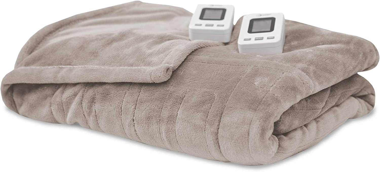 SensorPedic Heated Electric Blanket with SensorSafe, King, Cappuccino