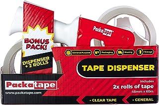 Packatape Pistolet à ruban adhésif d'emballage + 2 rouleaux de ruban adhésif transparent 48 mm x 66 m