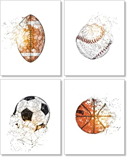 Kids Room Sports Posters - Football Baseball Soccer Basketball Wall Decor - 8x10 Unframed Set of 4 Art Prints