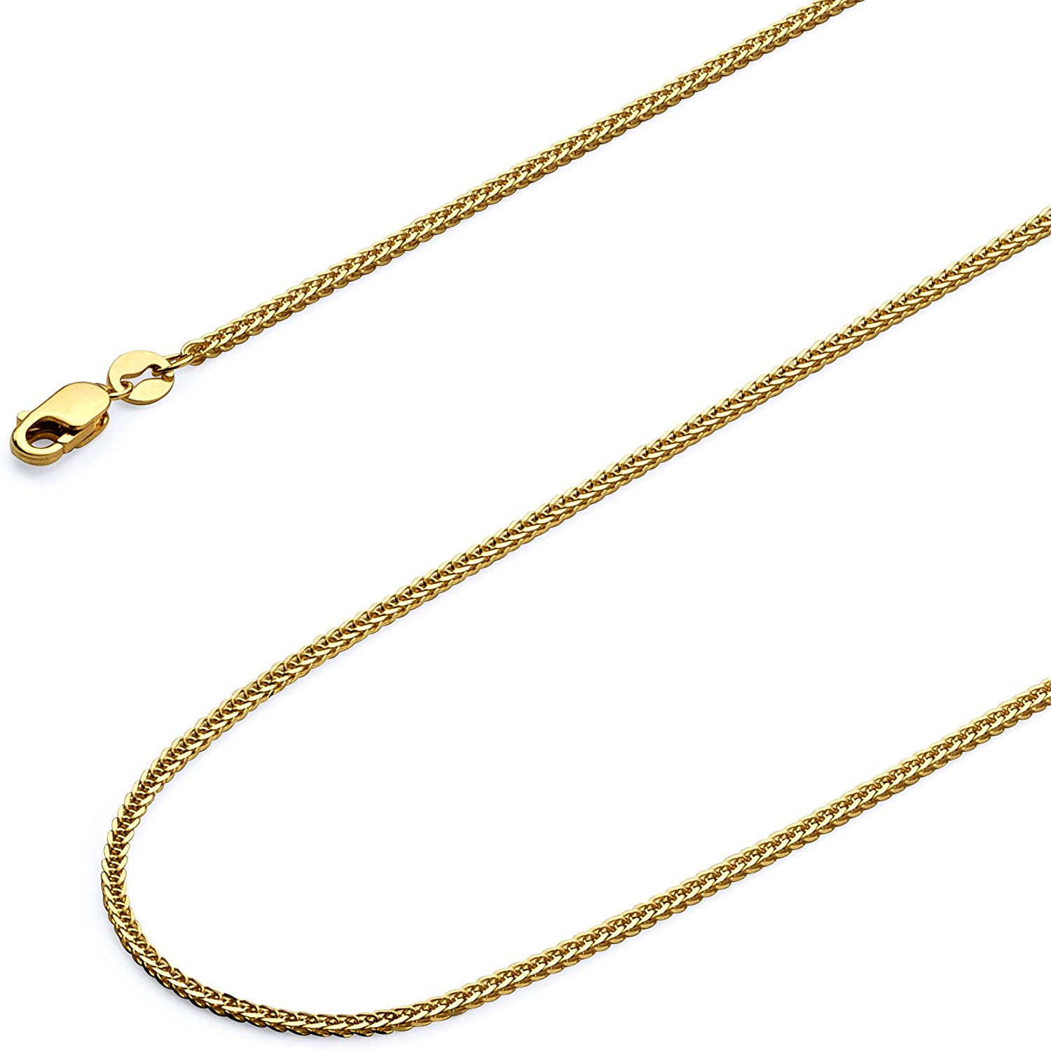 14k REAL Yellow OR White OR Rose/Pink Gold Solid 0.8mm Diamond Cut Braided Square Wheat Chain Necklace with Lobster Claw Clasp