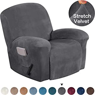 Turquoize Stretch Recliner Covers Stretch Recliner Slipcovers Velvet Recliner Chair Cover for Large Recliner Furniture Protector with Elastic Bottom 1 Piece with Side Pocket (Recliner, Gray)