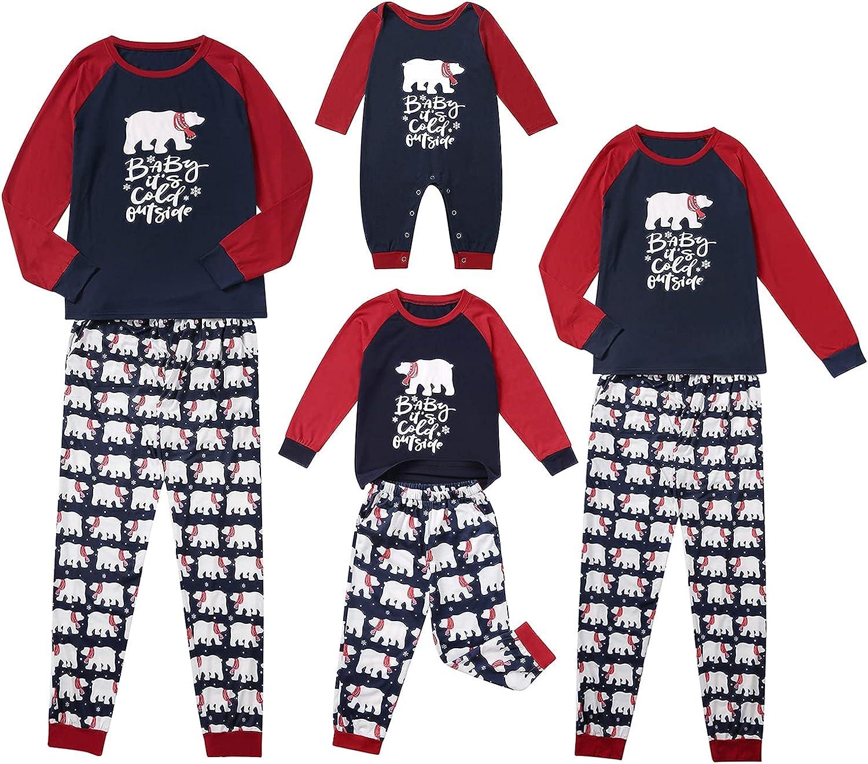 Merry Christmas Matching Pajamas Set Casual Holiday Print Long Sleeve Tops High Waist Pants Family Loungewear Sleepwear