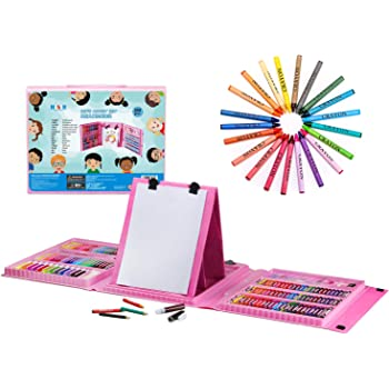 H & B Kids Art Supplies 208-Piece for Painting & Drawing, Art Set Case, Portable Art Box, Oil Pastels, Crayons, Colored Pencils, Markers, Great Gift for Kids 3-12, Girls, Boys, Teens, Beginners, Pink