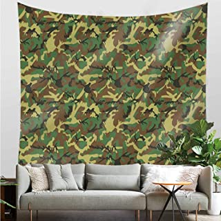 YOLIYANA Camo Vivid Tapestry,Woodland Camouflage Pattern Abstract Army Force Hiding in Jungle for Dining Room,30