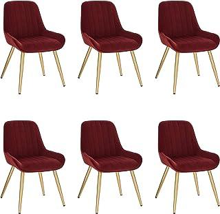 Lestarain 6X Sillas de Comedor Dining Chairs Sillas Tapizadas Paquete de 6 Sillas Cocina Nórdicas Terciopelo Sillas Bar Metal Silla de Oficina Burdeos