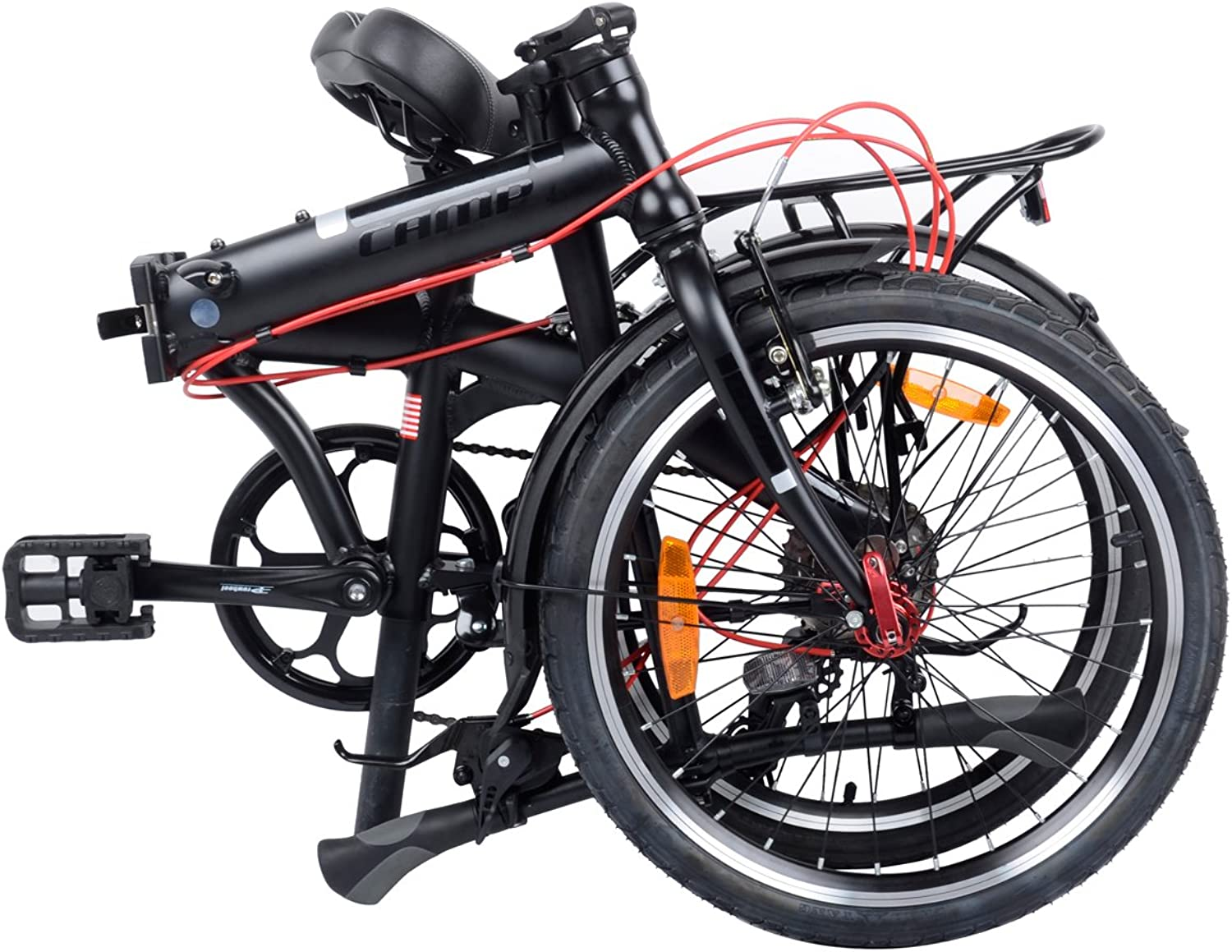 Camp Folding Bike Aluminum 20  8 Speed with Quick Release Wheels, Rear Rack and Fenders
