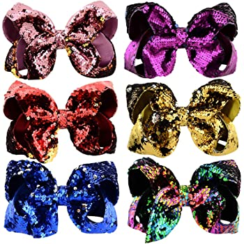 8 Pack Sequin Glitter Sparkly Hair Bow Alligator Hair Clips Hairpins Barrettes
