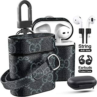 Airpods Leather Case with Lanyard Strap Keychain Clip, Jansae Original Design Cute Airpod Accessories Kits Compatible Apple Airpods 1/2 Wireless Charging Case (Blue/Flower)