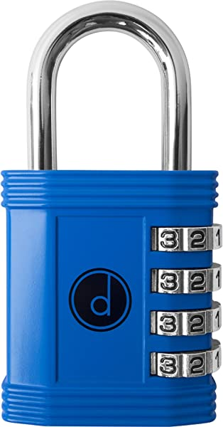 Padlock 4 Digit Combination Lock For Gym Sports School Employee Locker Outdoor Fence Hasp And Storage All Weather Metal Steel Easy To Set Your Own Keyless Resettable Combo Blue