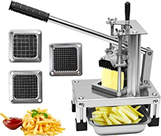 Poweka Commercial French Fry Cutter, Vegetable Fruit Chopper Food Dicer Potato Slicer Stainless Steel with 3 Sizes Blades ...