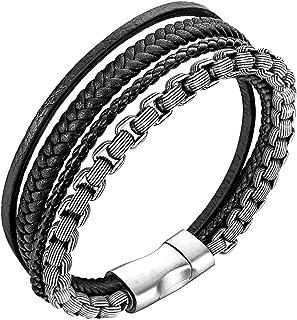 Bracelet men leather bracelet for men stainless steel bracelet (silver, black 19.5cm)