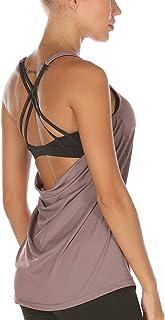 icyzone Femme Débardeur de Sport avec Soutien-Gorge intégré, Fitness Yoga Tank Top 2 in 1