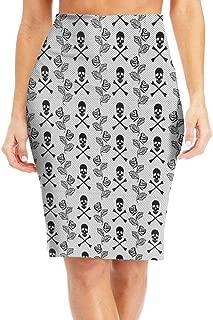 Womens Skirt Skulls Roses Lace Pattern Knee Length Pencil Skirts