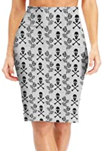VANMASS Womens Skirt Skulls Roses Lace Pattern Knee Length Pencil Skirts