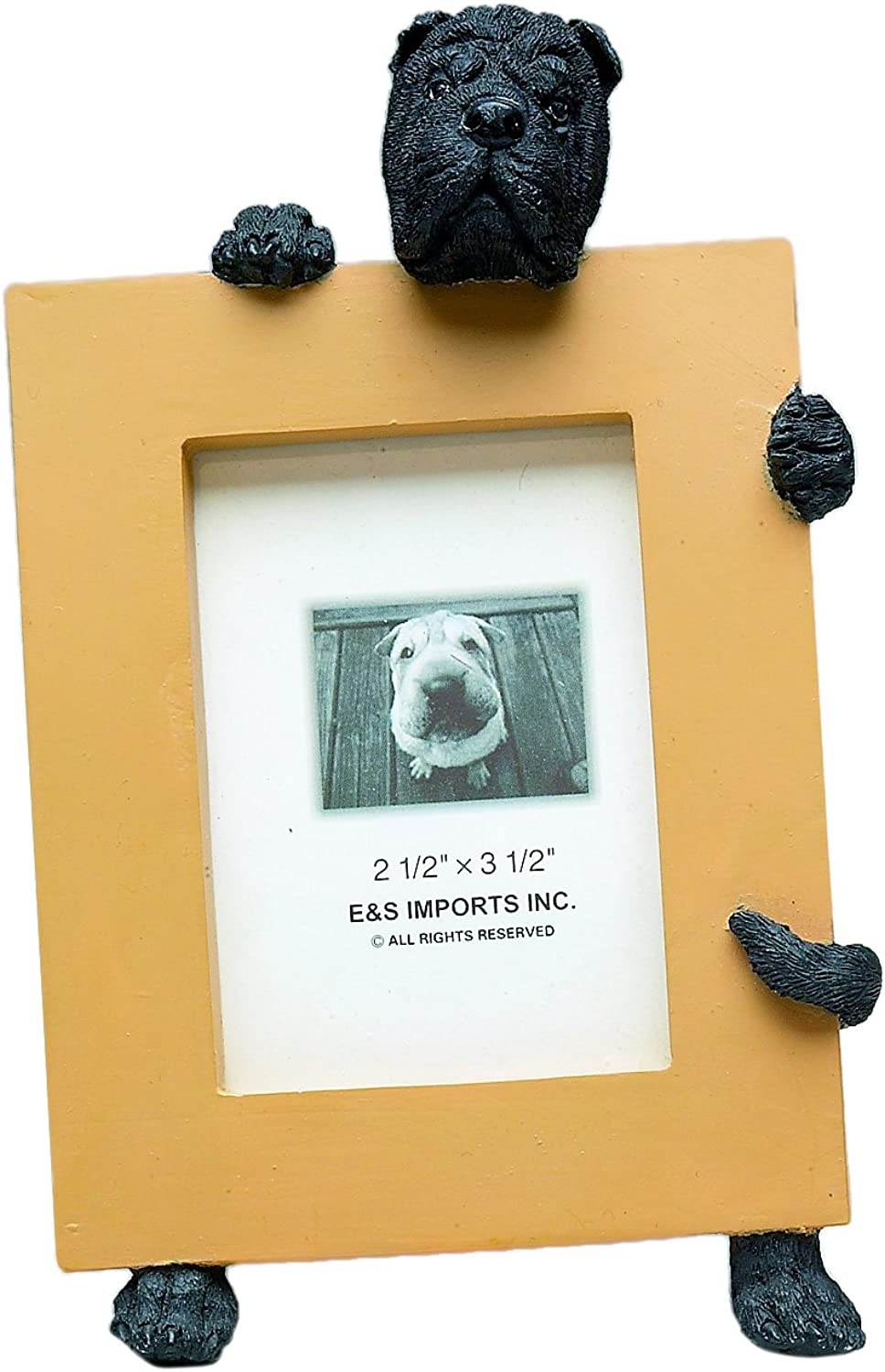 Black Sharpei Picture Frame Holds Your Favorite 2.5 by 3.5 Inch Photo, Hand Painted Realistic Looking Sharpei Stands 6 Inches Tall Holding Beautifully Crafted Frame, Unique and Special Sharpei Gifts for Sharpei Owners